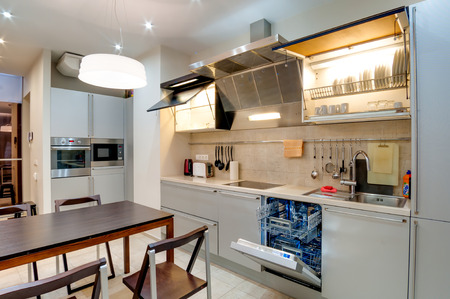 Russia, Novosibirsk - 28 January, 2016: interior room apartment. modern kitchen, dining area