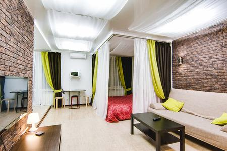 Russia, Novosibirsk - 12 December, 2017: interior room apartment. modern small cozy studio apartment