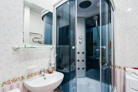 Russia, Novosibirsk - 01 March, 2017: interior room apartment. modern bathroom, sink, decor elements