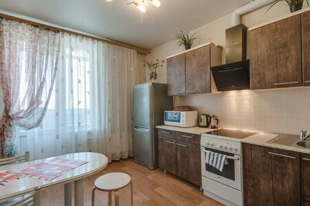 Russia, Moscow- september 20, 2017: interior room apartment. kitchen and dining room