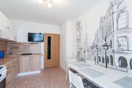 Russia, Novosibirsk - 07 May, 2016: interior room apartment. kitchen, dining area Redakční