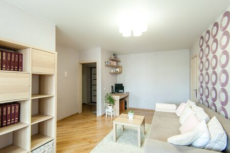 Russia, Moscow- June 13, 2018: interior room apartment. standard repair decoration in hostel