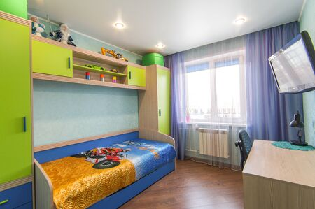 Russia, Moscow- June 13, 2018: interior room apartment. standard repair decoration in hostel Editorial