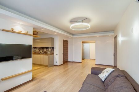 Russia, Moscow- June 17, 2018: interior room apartment. standard repair decoration in hostel Editorial
