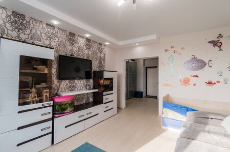 Russia, Moscow- July 02, 2019: interior room apartment. standard repair decoration in hostel. modern small cozy studio apartment