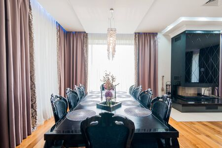 Russia, Moscow- July 21, 2019: interior room apartment. standard repair decoration in hostel. modern bright beautiful room. kitchen and dining