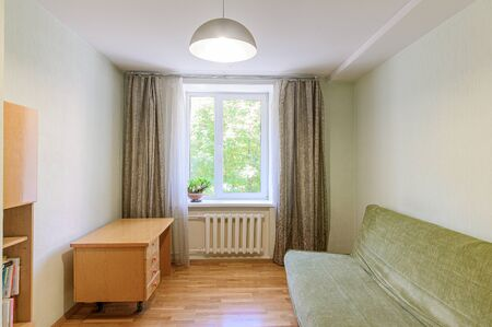 Russia, Moscow- September 10, 2019: interior room apartment modern bright cozy atmosphere. general cleaning, home decoration, preparation of house for sale
