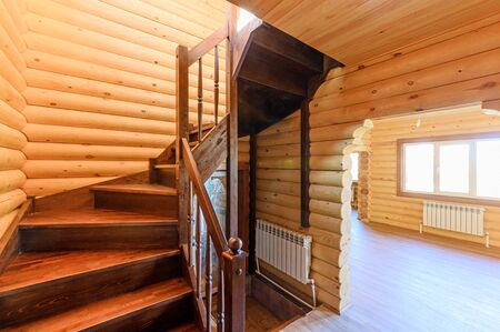 Russia, Moscow- September 10, 2019: interior room apartment modern bright cozy atmosphere. beautiful designer country house with wooden elements Редакционное