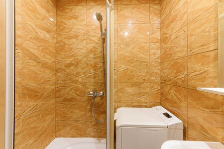 Russia, Moscow- September 10, 2019: interior room apartment modern bright cozy atmosphere. general cleaning, home decoration, preparation of house for sale. bathroom and toilet Редакционное