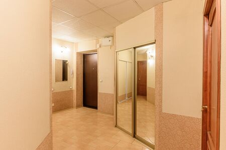 Russia, Moscow- September 10, 2019: interior room apartment modern bright cozy atmosphere. general cleaning, home decoration, preparation of house for sale. room doors, repair corridor