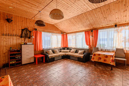 Russia, Moscow- January 25, 2020: interior room apartment modern bright cozy atmosphere. general cleaning, home decoration, preparation of house for sale. bathhouse, sauna