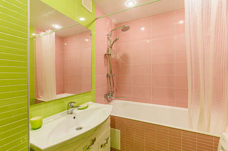 Russia, Moscow- February 07, 2020: interior room apartment modern bright cozy atmosphere. bathroom, sink, decoration elements, toilet Editorial