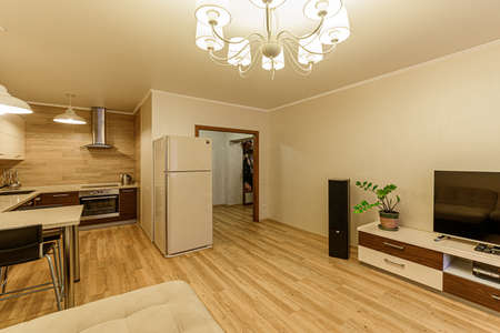 Russia, Moscow- February 07, 2020: interior room apartment modern bright cozy atmosphere. general cleaning, home decoration, preparation of house for sale