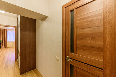 Russia, Moscow- February 07, 2020: interior room apartment modern bright cozy atmosphere. general cleaning, home decoration, preparation of house for sale. room doors, repair corridor Editorial