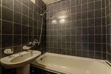 Russia, Moscow- February 10, 2020: interior room apartment modern bright cozy atmosphere. general cleaning, home decoration, bathroom, sink, decor elements, toilet