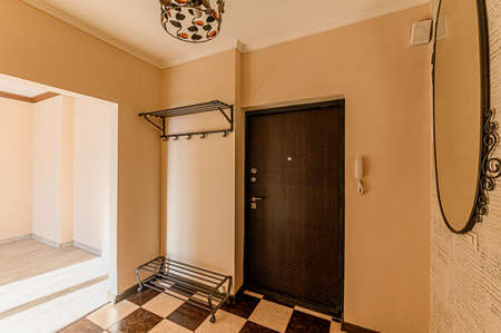 Russia, Moscow- February 10, 2020: interior room apartment modern bright cozy atmosphere. general cleaning, home decoration, room doors, repair corridor Editorial