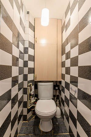 Russia, Moscow- February 10, 2020: interior room apartment bathroom, sink, decor elements, toilet