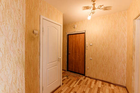 Russia, Moscow- February 10, 2020: interior room apartment modern bright cozy atmosphere. general cleaning, home decoration, preparation of house for sale