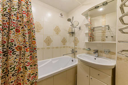 Russia, Moscow- February 10, 2020: interior room apartment modern bright cozy atmosphere. general cleaning, home decoration, modern bathroom, sink, decor elements, toilet