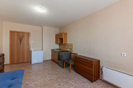 Russia, Moscow- February 10, 2020: interior room apartment shabby old sloppy not modern furnishings. cosmetic repairs required