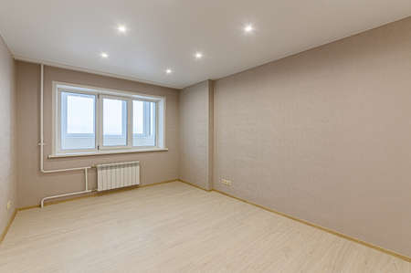 Russia, Moscow- February 10, 2020: interior room apartment modern bright cozy atmosphere. general cleaning, home decoration, preparation of house for sale. modern light and cozy environment