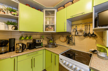 Russia, Moscow- February 10, 2020: interior room apartment modern bright cozy atmosphere. general cleaning, home decoration, preparation of house for sale. kitchen, dining area
