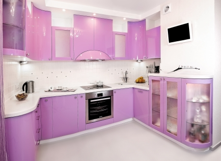 light purple plastic kitchen freehold Stock Photo - 23269790