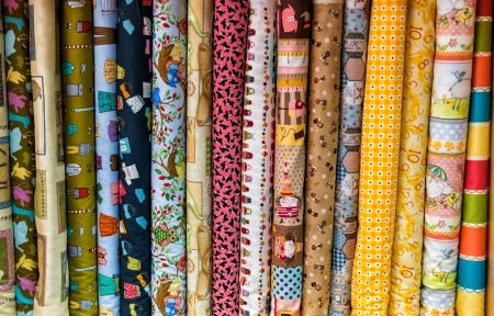 gift shops and a showcase of textile fabrics with patterns