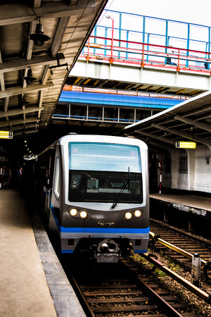 arrives: Subway train arrives to station. Russia Stock Photo
