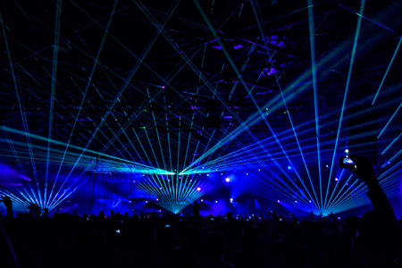 bright laser show in the crowd of merry men
