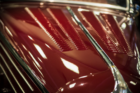 grille: grille on the back of a beautiful luxurious retro car