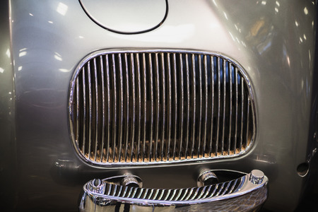 grille': grille on the back of a beautiful luxurious retro car