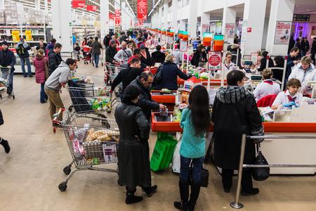 Auchan winkel spits Moskou, crisis 7 februari 2015, Rusland