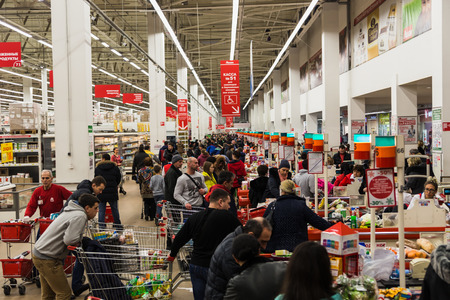 Auchan store rush hour Moscow, crisis 7 february 2015, Russia