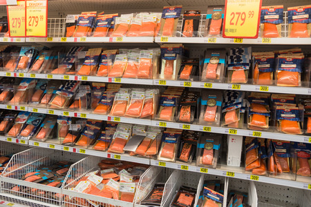 showcase in the supermarket red fish salmon trout February 2015 Russia Moscow