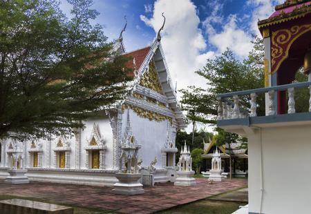 white serpent sculpture art in chaloklum temple koh phangan, suratthani, thailand, july 1, 2017 Editorial