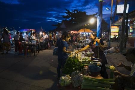Thai famous market in TongSala with fresh vegetables and fruits market in suterdayThailand, co-phangan, TongSala July 27, 2017