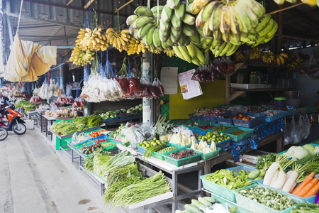 Thai famous market in TongSala with fresh vegetables and fruits Thailand, co-phangan, TongSala July 27, 2017 Stock Photo