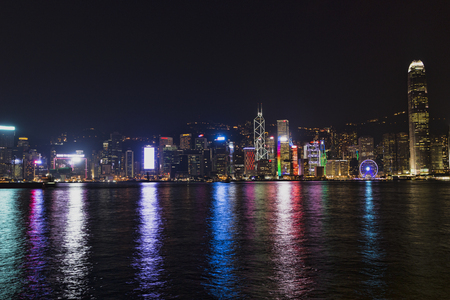 HONG KONG - march 01, 2017: Hong Kong at night from across Victoria Harbor on MArch 01. 2017 in China