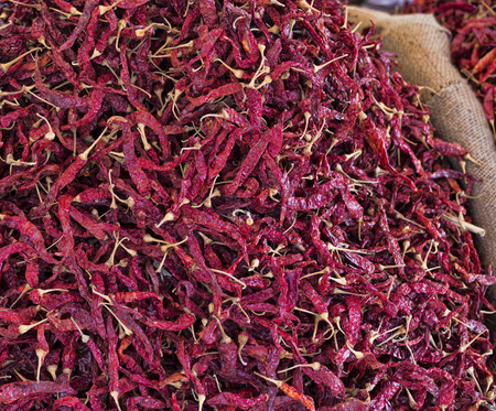 Background of dried red pepper on the market