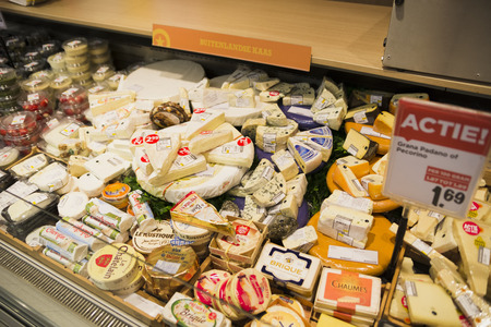 Dutch cheese on display in the store November 2nd, 2015 Netherlands Amsterdam