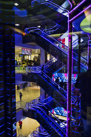 MOSCOW,RUSSIA - september 09 ,2017: Elevator in European Entertainment and shopping center. Center with over 180 000 m2 was projected by architect Platonov. Inside design of building represents eight levels