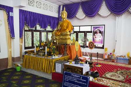 Wat Phu Kao Noi Temple (Small Mountain Sanctuary) is located on a hill near the dong Thong Sala and is the oldest temple in the island, Thailand, Koh Phangan Island, June 29, 2017 Editorial