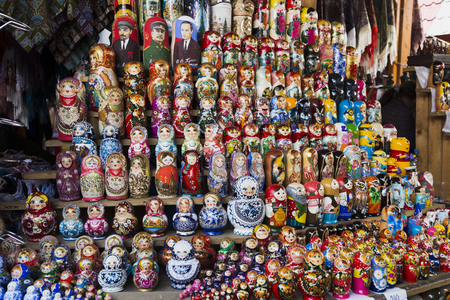 Nesting dolls in a row at the Verniage market Russia, Moscow, MAY 7, 2016