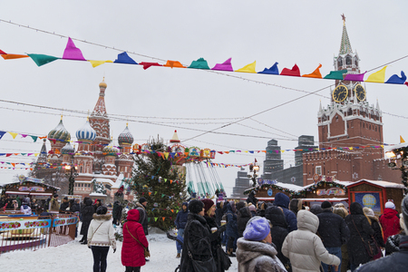 Russia, Moscow, 11 February, 2018, Red square, Maslennitsa week in red square Redactioneel