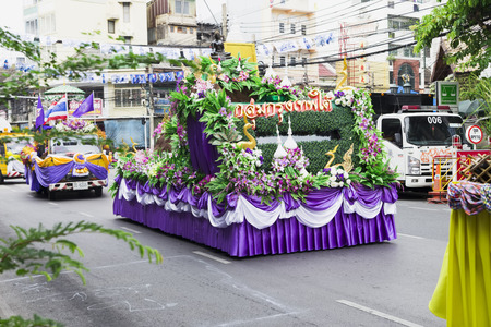 Beautiful decorated cars with flowers and fabrics for the new year Thailand, Bangkok, April 12, 2015