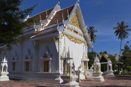 Phuket, Thailand, April 17, 2015. A view of the white temple of Phuket, Chalong, faith confession Buddhism. April 17, 2015
