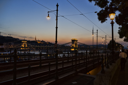 Hungary, Budapest, 29 may 2016, beautiful historical part of Hungary bridge connects 2 parts of the city: Hungary, Budapest, 29 may 2016