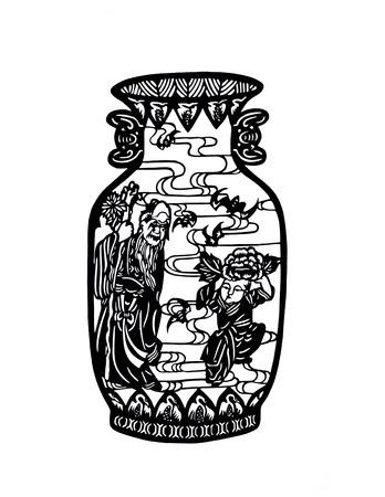 antique vase: China Antique Vase Pattern Stock Photo