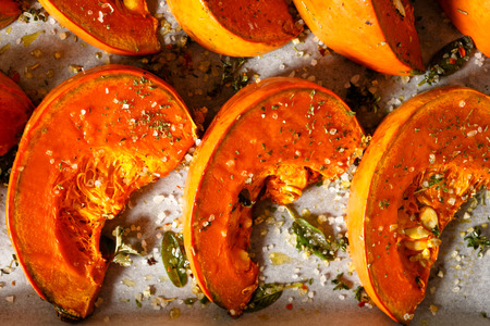 Roasted pumpkin with addition aromatic herbs, sea salt and olive oil